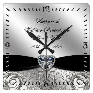 60. Diamant-Hochzeitstag-Quadrat-Wanduhr Uhr