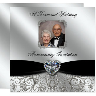 60. Foto des Hochzeits-Jahrestags-5.25x5.25 laden Quadratische 13,3 Cm Einladungskarte