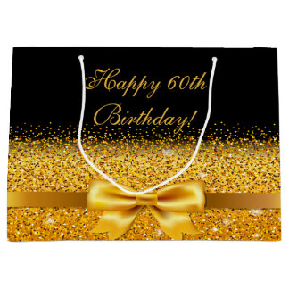 60. Geburtstag mit Goldbogen auf schickem Große Geschenktüte