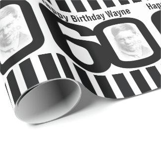 60. Geburtstags-Foto-Spaß-Schwarzweiss-Verpackung Geschenkpapier