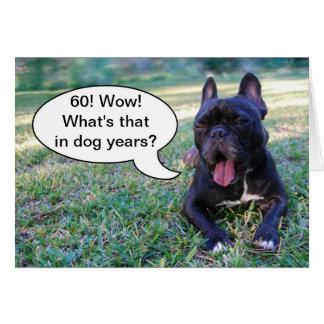 60. Geburtstags-Hundejahr-französische Karte