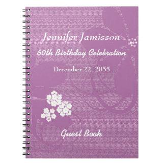 60. Geburtstags-Party-Gast-Buch-lila weißes Blumen Spiral Notizblock