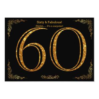 60. Geburtstags-Party, Gatsby styl, schwarzer 12,7 X 17,8 Cm Einladungskarte