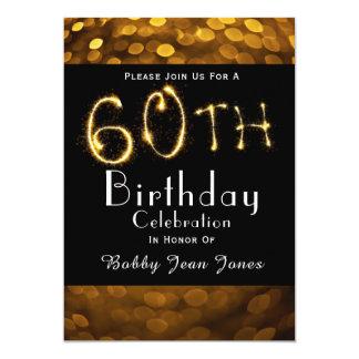 60. Geburtstags-Party-GoldSparkler 12,7 X 17,8 Cm Einladungskarte