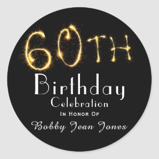 60. Geburtstags-Party-GoldSparkler Runder Aufkleber