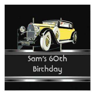 60. Geburtstags-Party-Schwarz-Vintages Auto Karte