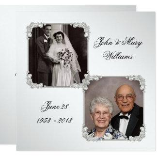 60. Hochzeits-Jahrestags-Foto-Einladungs-Karte Quadratische 13,3 Cm Einladungskarte
