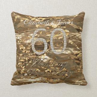 60. Hochzeitstag-Diamant-Hochzeits-GoldChic Kissen