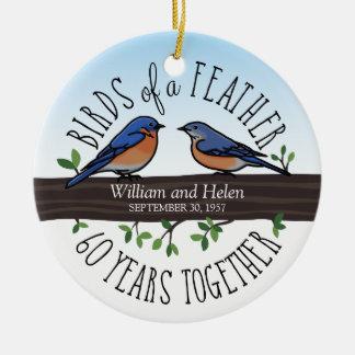 60. Hochzeitstag, Drosseln einer Feder Rundes Keramik Ornament