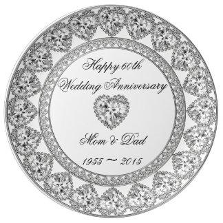 60. Hochzeitstag-Porzellan-Platte Porzellanteller