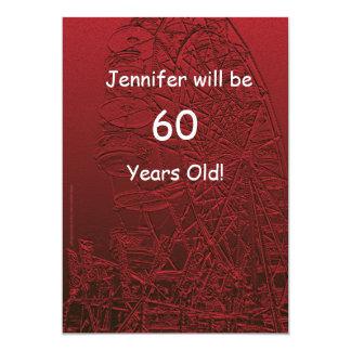 60 Jahre altes Geburtstags-Party-doppelseitige 12,7 X 17,8 Cm Einladungskarte