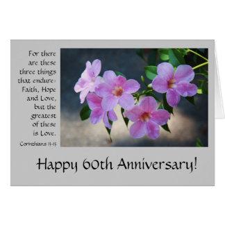 60. Jahrestag, mit Blumen, Bibelvers über Liebe Grußkarte