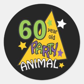 60 Jährig-Party-Tier - 60. Geburtstag Runder Aufkleber