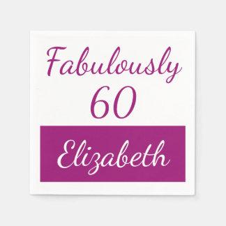 60. Rosa fabelhaft 60 des Geburtstages Papierserviette