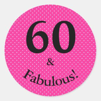 60 u. fabelhafter Geburtstags-helle rosa Tupfen Runder Aufkleber