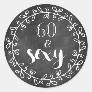 60 u. sexy 60. Geburtstags-Gewohnheits-Aufkleber Runder Aufkleber