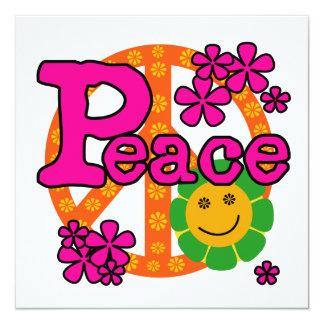 60er Art-FriedensT - Shirts und -geschenke Quadratische 13,3 Cm Einladungskarte