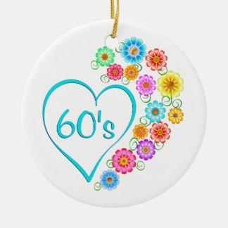 60er Herz und Blumen Keramik Ornament