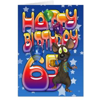 65. Geburtstags-Karte niedlich mit kleiner Maus Karte