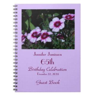 65. Geburtstags-Party-Gast-Buch, lila Blumen Spiral Notizblock