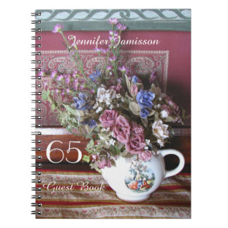 65. Geburtstags-Party-Gast-Buch, Vintage Teekanne Spiral Notizblock