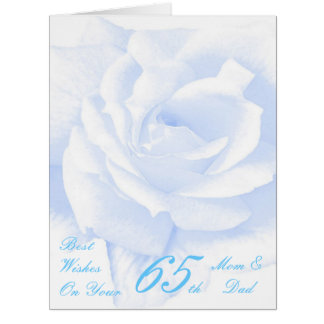 65. Hochzeits-Jahrestags-Mamma-u. Vati-Blau-Rose Karte