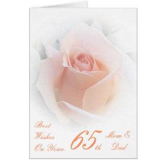 65. Hochzeits-Jahrestags-Mamma u. Vati-rosa Rose Karte