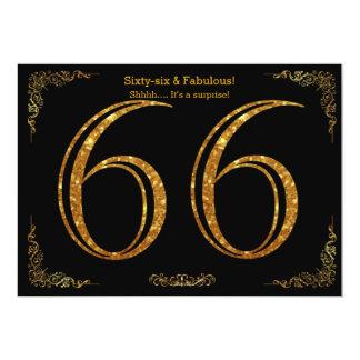 66. Geburtstags-Party, Gatsby styl, schwarzer 12,7 X 17,8 Cm Einladungskarte