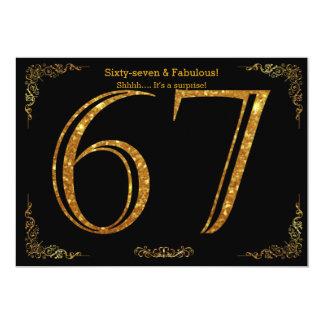 67. Geburtstags-Party, Gatsby styl, schwarzer 12,7 X 17,8 Cm Einladungskarte