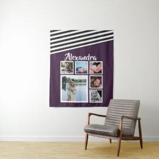 6 Foto-Collagen-Pflaumen-gestreiftes Muster Wandteppich
