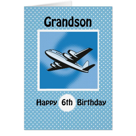 6. Geburtstag, Enkel, Flugzeug auf Blau Grußkarte