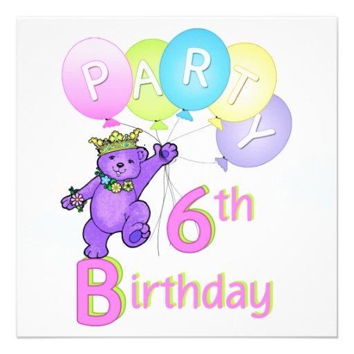6. Geburtstags-Party-Prinzessin Bear Balloons Ankündigung