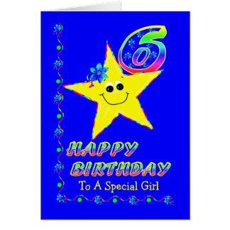 6. Geburtstags-Sterne für Mädchen Karte
