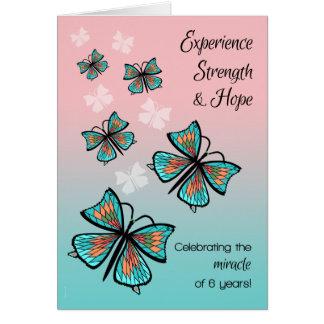 6 Jahr-Sucht-Erholungs-Geburtstags-Schmetterlinge Karte