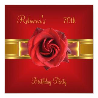 70. Bunter königlicher roter Blumen-gelbes Quadratische 13,3 Cm Einladungskarte