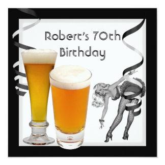 70. der Geburtstags-Party-Retro Mädchen PINUP Bier Quadratische 13,3 Cm Einladungskarte