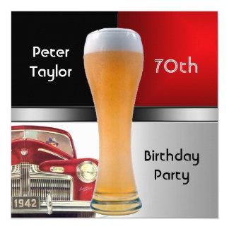 70. der Geburtstags-Party-rotes Retro rotes Quadratische 13,3 Cm Einladungskarte