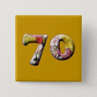 70. Geburtstag 70 Jahre Meilenstein-Knopf- Quadratischer Button 5,1 Cm