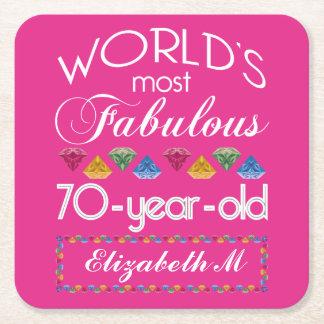 70. Geburtstag das meiste fabelhafte bunte Kartonuntersetzer Quadrat