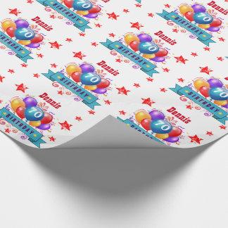 70. Geburtstags-festliche bunte Ballone C01FZ Geschenkpapierrolle