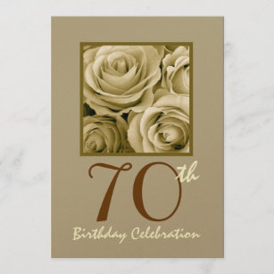 70. Geburtstags-Party Einladung GOLDRosen