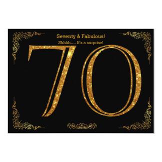 70. Geburtstags-Party, Gatsby styl, schwarzer 12,7 X 17,8 Cm Einladungskarte