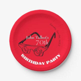 70. Geburtstags-Party-Papierplatte der Glas-3D Pappteller