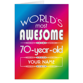 70. Geburtstags-Weltbester fabelhafter Regenbogen Grußkarte