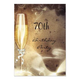 70. Sepia-Champagne-Glas 12,7 X 17,8 Cm Einladungskarte