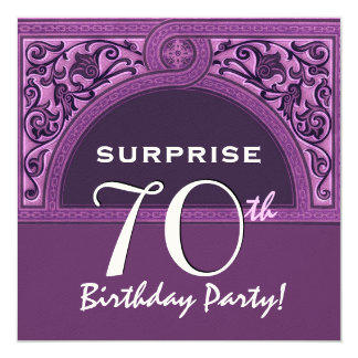 70. ÜBERRASCHUNG Geburtstags-lila Quadratische 13,3 Cm Einladungskarte