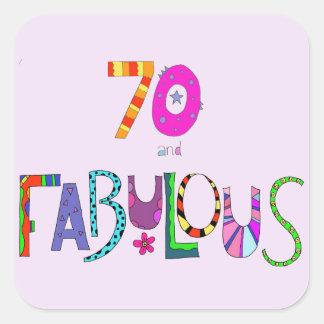 70 und fabelhafter 70. Geburtstag Quadratischer Aufkleber
