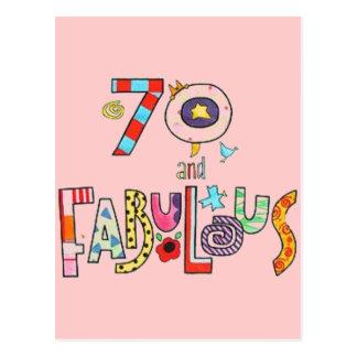 70 und fabelhafter glücklicher 70. Geburtstag Postkarte