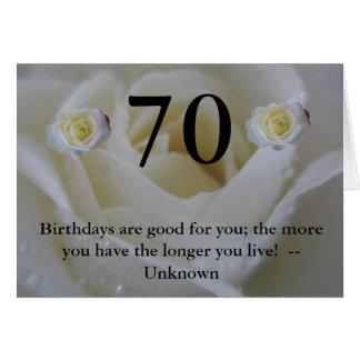 70. Zitat-Gruß Rose des Geburtstages weißer Grußkarte