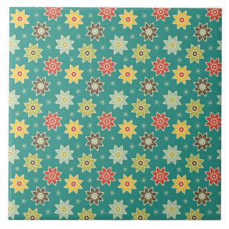 70er Retro Blumen-Muster Große Quadratische Fliese
